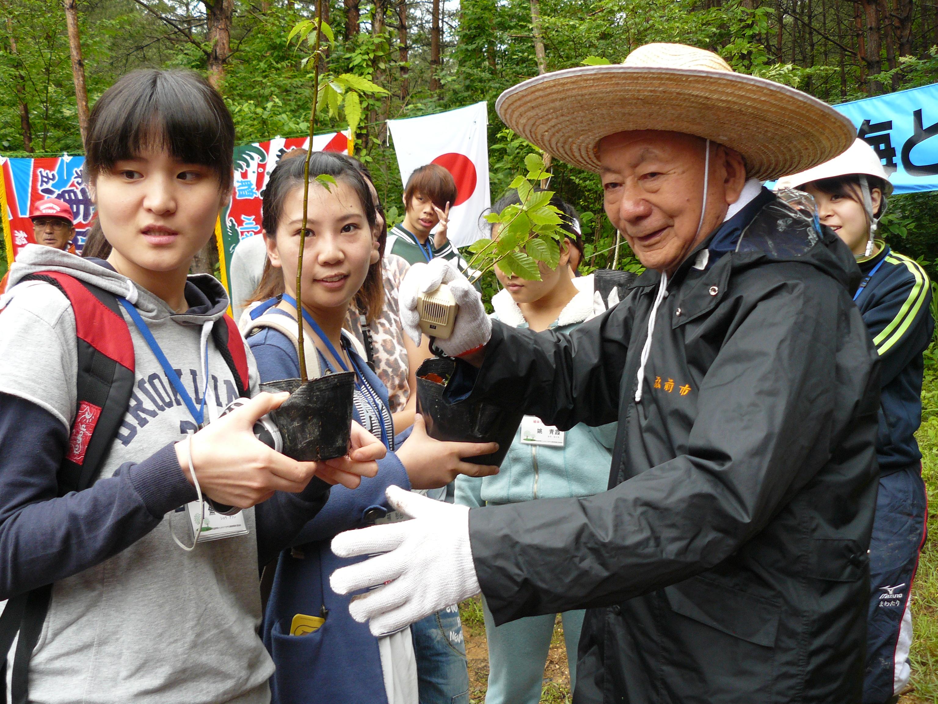植樹祭を指導した宮脇 昭先生