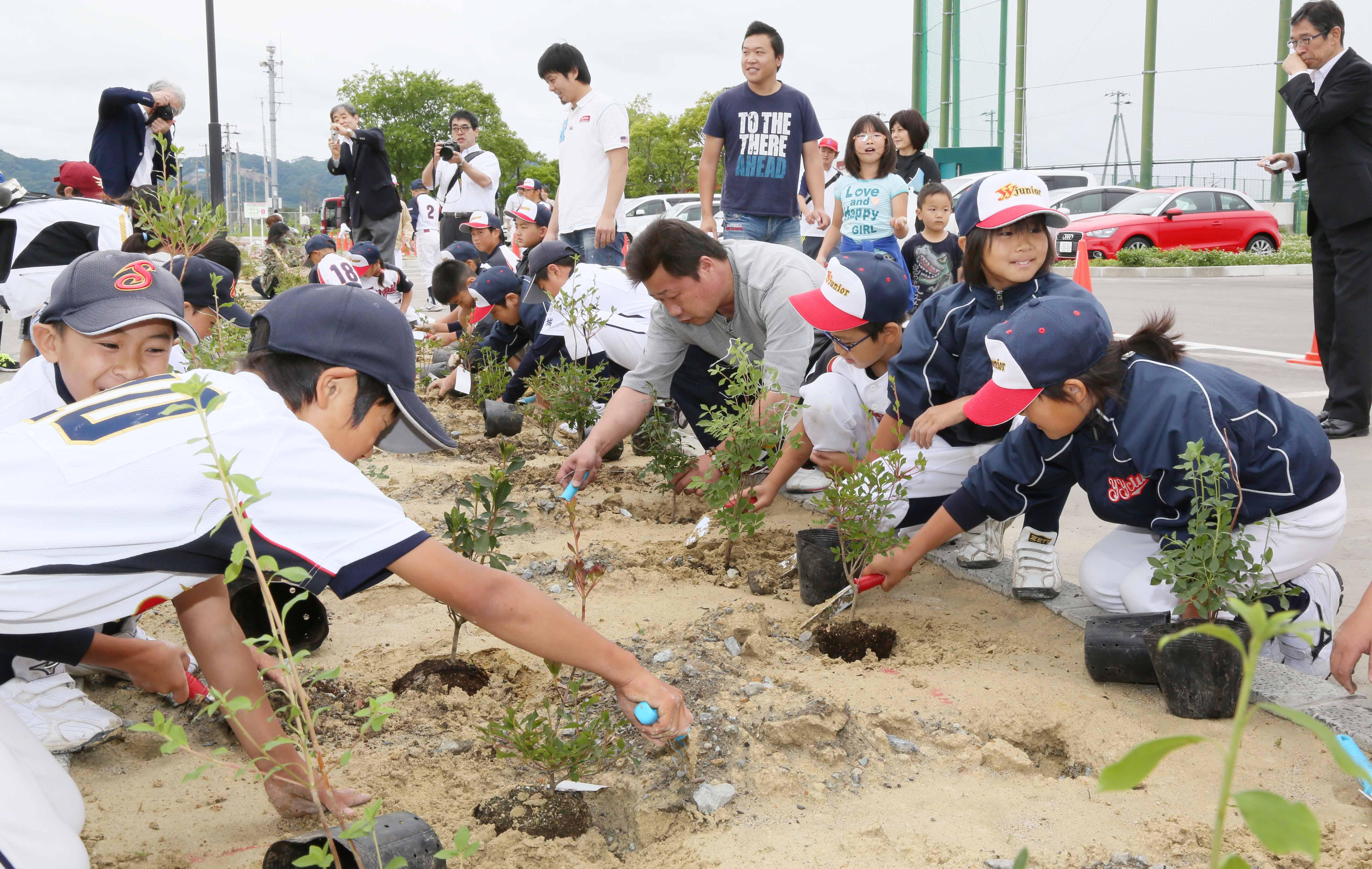 宮城県山元町での植樹には地元少年野球チームが参加 (1)
